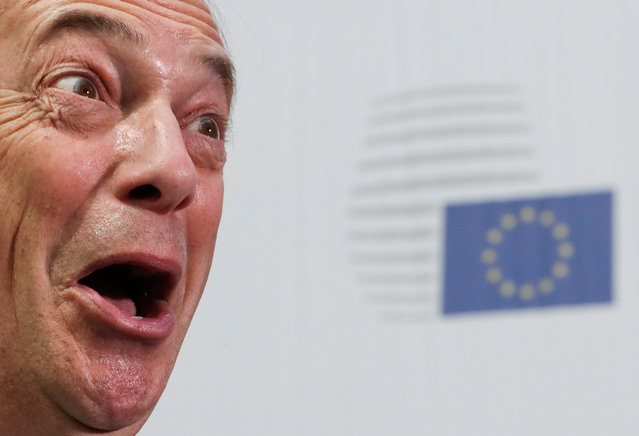 Former leader of Britain's UK Independence Party (UKIP) Nigel Farage talks to the media at the EU Council headquarters ahead of an extraordinary European Union leaders summit to discuss Brexit, in Brussels, Belgium April 10, 2019. (Photo by Yves Herman/Reuters)