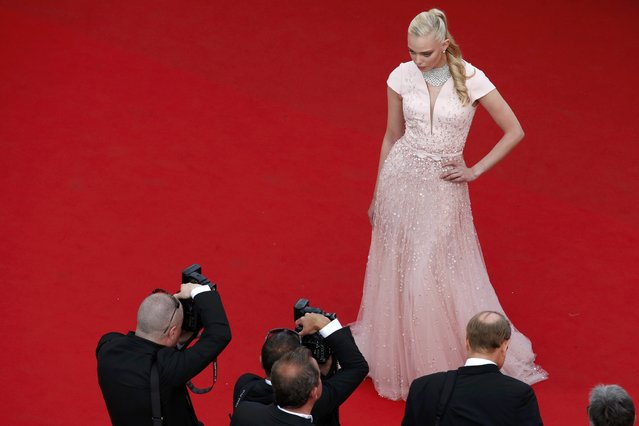 """Model Tanya Dziahileva poses on the red carpet as she arrives for the opening ceremony and the screening of the film """"La tete haute"""" out of competition during the 68th Cannes Film Festival in Cannes, southern France, May 13, 2015. (Photo by Benoit Tessier/Reuters)"""