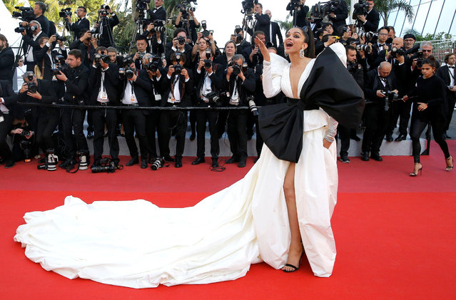 """Danish-born Indian model Deepika Padukone poses as she arrives for the screening of the film """"Rocketman"""" at the 72nd edition of the Cannes Film Festival in Cannes, southern France, on May 16, 2019. (Photo by Stephane Mahe/Reuters)"""