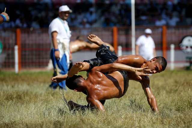 Young wrestlers compete on the last day of the 658th annual Kirkpinar Oil Wrestling Festival in Edirne, Turkey on July 07, 2019. The Kirkpinar Oil Wrestling Festival, is one of the worlds oldest sports events and has been held annually in the province since 1362, with wrestlers engaging in a physical and mental struggle without the use of any equipment. (Photo by Orhan Akkanat/Anadolu Agency/Getty Images)