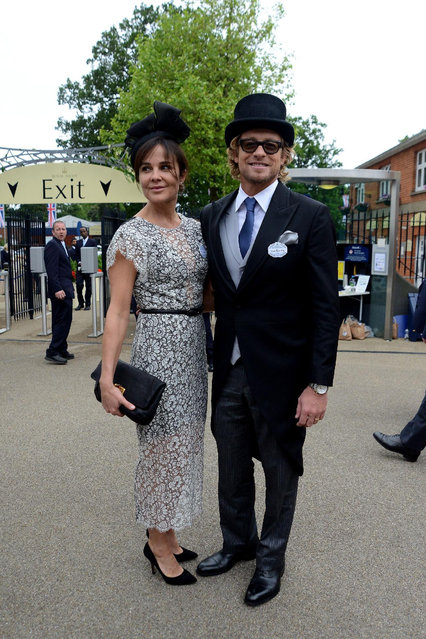 ASCOT, ENGLAND - JUNE 17:  Actor Simon Baker with his wife Rebecca Rigg attend Royal Ascot 2015 at Ascot racecourse on June 17, 2015 in Ascot, England.  (Photo by Kirstin Sinclair/Getty Images for Ascot Racecourse)