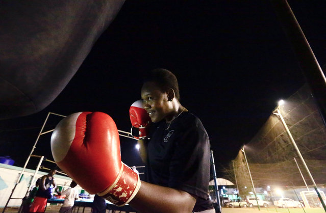 Arafat Abkar, 22, warms up during boxing practice at Nile Club in Khartoum May 9, 2016. (Photo by Mohamed Nureldin Abdallah/Reuters)