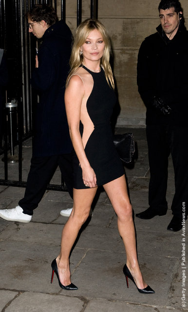 Kate Moss arrives for the Stella McCartney Special Presentation at 13 North Audley Street during London Fashion Week Autumn/Winter 2012