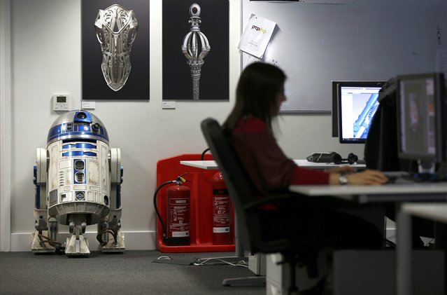 A replica of R2-D2 is seen in the Propshop headquarters at Pinewood Studios near London, Britain May 25, 2016. (Photo by Peter Nicholls/Reuters)