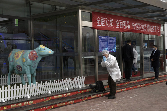 A foreign journalist prepares to wear his mask before entering the office at the Mengniu dairy factory in Beijing on Thursday, February 27, 2020. The state-owned dairy company Mengniu has suffered 20% sales decrease since the beginning of February due to the COVID-19 outbreak, said a Communist Party official overseeing the company during a tour of the plant organized by the State Council Information Office for foreign media. (Photo by Ng Han Guan/AP Photo)