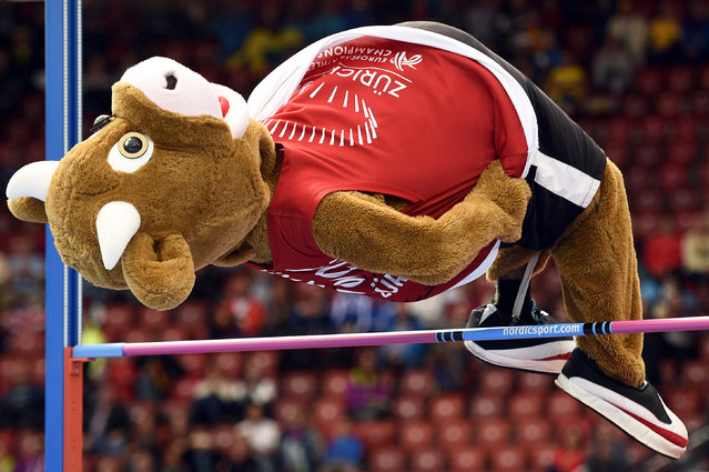 """Cooly"", the mascot of the European Athletics Championships 2014, performs high jump during the European Athletics Championships 2014 in the Letzigrund Stadium in Zurich, Switzerland, 14 August 2014. (Photo by Ennio Leanza/EPA)"