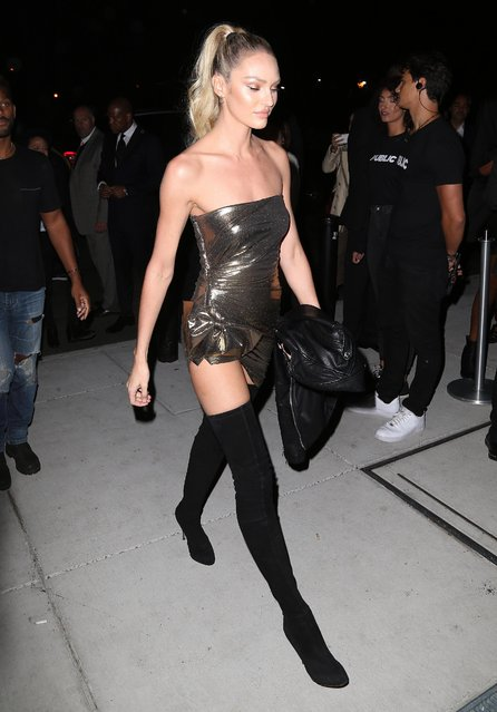 Candice Swanepoel arrives at the Mert Alas x Marcus Piggot book launch party at Public Hotelon September 7, 2017 in New York City. (Photo by Splash News and Pictures)