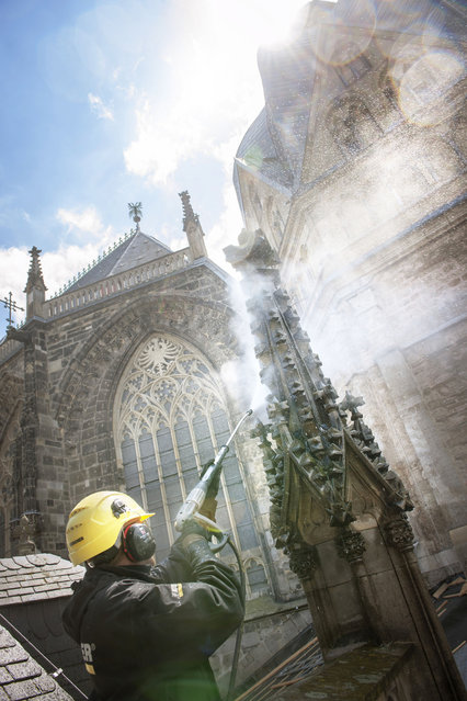 A cleaning expert cleans the Aachen Cathedral in Germany. (Photo by Caters News Agency)