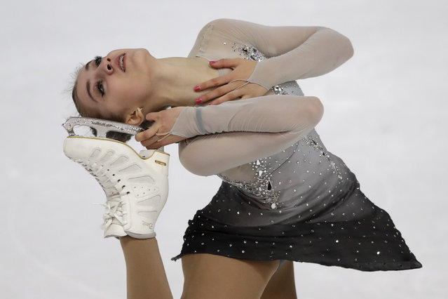 Alexia Paganini of Switzerland competes during the women short program at the Figure Skating-ISU Challenger Series in Oberstdorf, Germany, Friday, September 29, 2017. (Photo by Matthias Schrader/AP Photo)