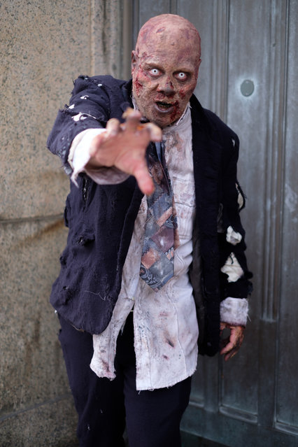 Luis Rodriguez, an actor from New Jersey is dressed as a zombie during the 2017 New York Comic Con Day 3 on October 7, 2017 in New York City. (Photo by Gabriella Bass)
