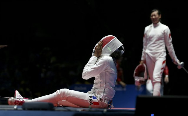 2016 Rio Olympics, Fencing, Preliminary, Women's Epee Individual Table of 32, Carioca Arena 3, Rio de Janeiro, Brazil on August 6, 2016. Lauren Rembi (FRA) of France reacts after losing the match. (Photo by Issei Kato/Reuters)