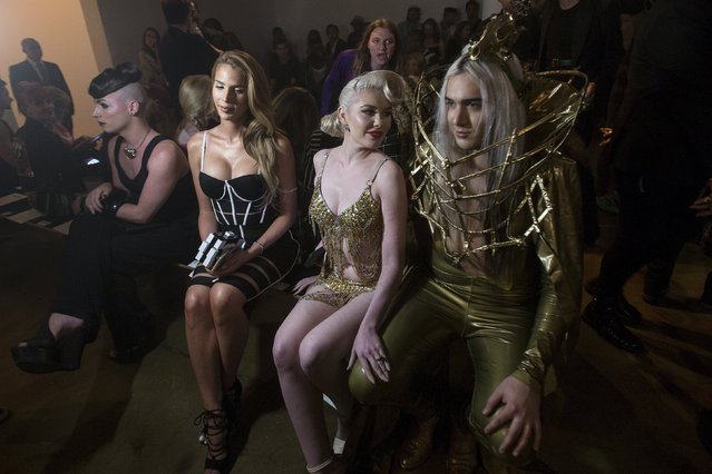 Fashionistas sit on the front row before The Blonds spring/summer 2016 collection during New York Fashion Week in New York, September 16, 2015. (Photo by Carlo Allegri/Reuters)