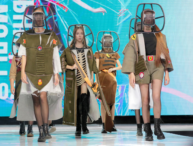 "Models present creations ""2033 (teens)"" by Belarusian designer Anastasiya Kutepova during a show at the festival and contest Fashion Mill, amid the coronavirus disease (COVID-19) outbreak, in Minsk, Belarus on June 30, 2020. (Photo by Vasily Fedosenko/Reuters)"