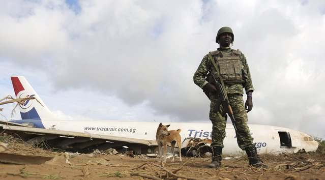 A Ugandan soldier serving in the African Union Mission in Somalia (AMISOM) stands guard to secure the site where a Tristar Air Airbus A300-200F cargo plane crash-landed in Arbiska outside Somalia's capital Mogadishu, October 13, 2015. (Photo by Feisal Omar/Reuters)