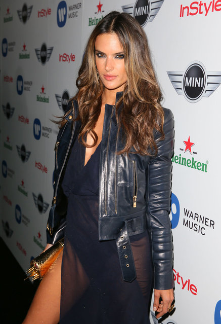 Alessandra Ambrosio attends the Warner Music Group 2013 Grammy celebration at Chateau Marmont on February 10, 2013 in Los Angeles, California. (Photo by Jason LaVeris/FilmMagic)