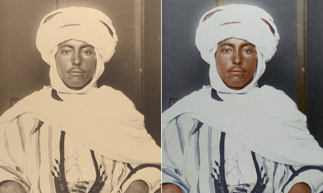 An Algerian man circa 1910 wearing a kaftan tunic and a kufiya, which is a square of fabric folded into a triangle and held upon the head by a circlet of camel hair. (Photo by Augustus Francis Sherman/New York Public Library/The Guardian)