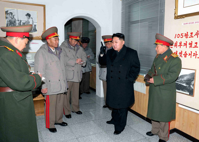Kim Jong Un speaks during a trip to the Seoul Ryu Kyong Su 105 Guards Tank Division of the Korean People's Army (KPA) in Pyongyang, in this picture released on January 1, 2012. (Photo by Reuters/KCNA)