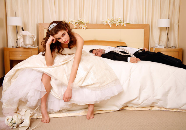 AWYRW5 Bride disappointed with groom passed out on hotel bed