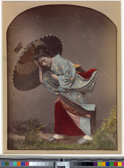 """Woman with Umbrella in Rain"" by Raimund von Stillfried. Artist: Kusakabe Kimbei (Japanese, 1841–1934), 1870s. (Photo courtesy of The Metropolitan Museum of Art)"