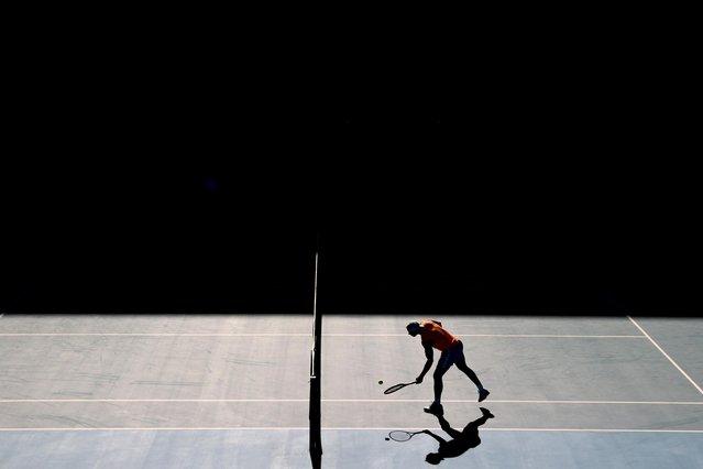 Tennis star Rafael Nadal of Spain practices at Melbourne Park in advance of the Australian Open in Melbourne, Australia, January 31, 2021. (Photo by Loren Elliott/Reuters)