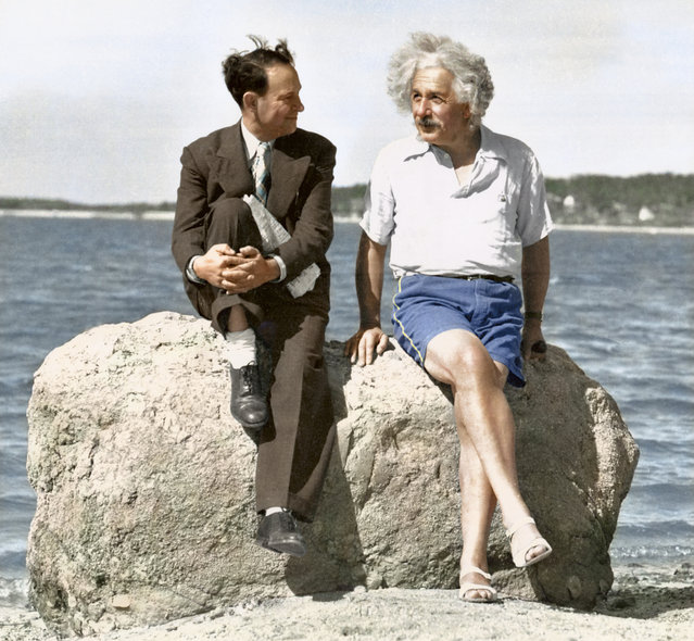 Albert Einstein, Summer 1939, Nassau Point, Long Island, NY. Colorized by Edvos on Reddit.
