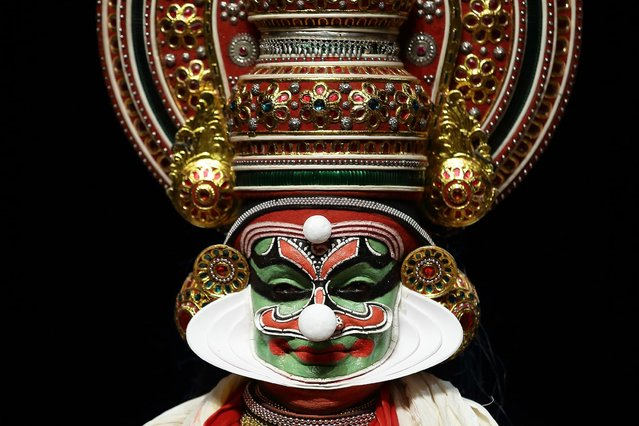 A performer from the Margi Theatre performs a Kathakali on stage during the Kalaa Utsavam Indian Festival of Arts at the Esplanade Outdoor Theatre on November 16, 2013 in Singapore. (Photo by Suhaimi Abdullah)