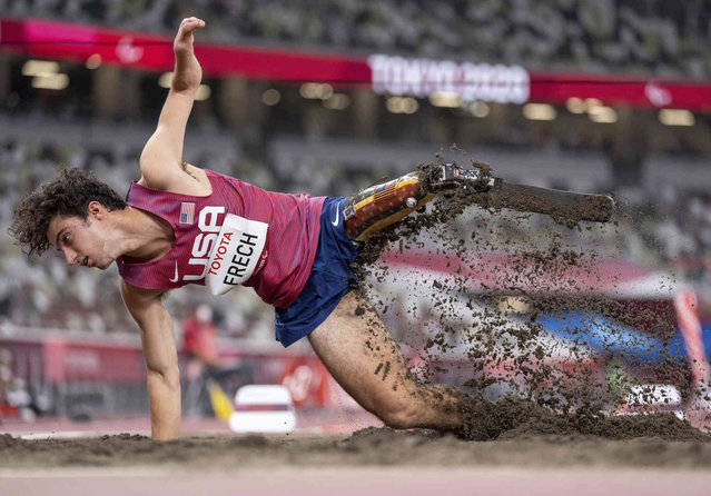 Ezra Frech of the United States competes in the Men's Long Jump T63 Athletics Final  in the Olympic Stadium during the Tokyo 2020 Paralympic Games,  Saturday, August 28, 2021. (Photo by Thomas Lovelock for OIS via AP Photo)