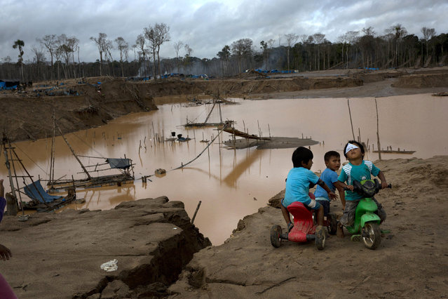 In this Tuesday, February 23, 2016 photo, children play next to a crater, created by gold mining, during a government raid to dismantle the illegal wildcat operation in La Pampa, in Peru's Madre de Dios region. Wildcat mining, which became illegal in 2014, has been ravaging pristine jungle and contaminating it with tons of mercury. (Photo by Rodrigo Abd/AP Photo)
