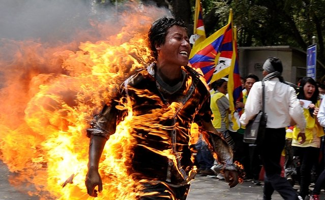 Tibetan exile Jamphel Yeshi, 27, runs as he is engulfed in flames after he set himself on fire during a protest in New Delhi on March 26, 2012. (Photo by AFP Photo/STM)
