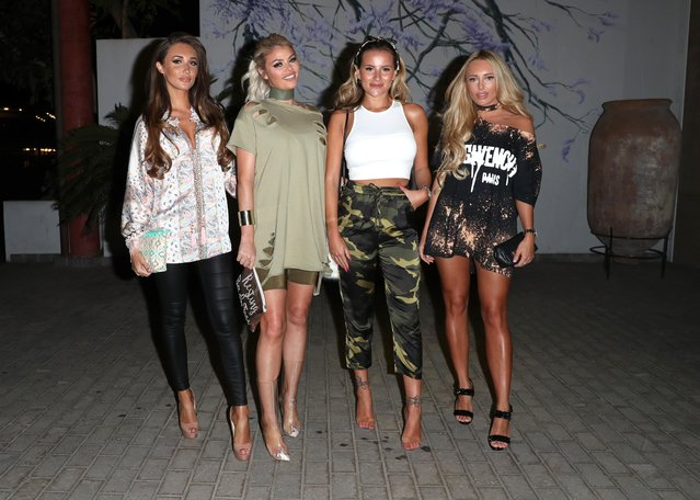 """Megan McKenna, Chloe Sims, Georgia Kousoulou and Amber Turner attend """"The Only Way is Essex"""" filming in Tenerife, Spain on January 30, 2017. (Photo by Beretta/Sims/Rex Features/Shutterstock)"""