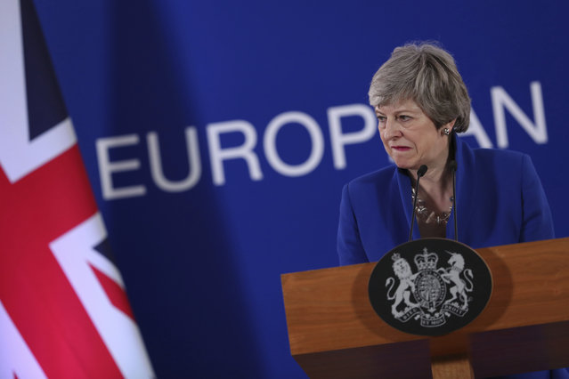 British Prime Minister Theresa May speaks during a media conference at the conclusion of an EU summit in Brussels, Thursday, April 11, 2019. European Union leaders on Thursday offered Britain an extension to Brexit that would allow the country to delay its EU departure date until Oct. 31. (Photo by Francisco Seco/AP Photo)