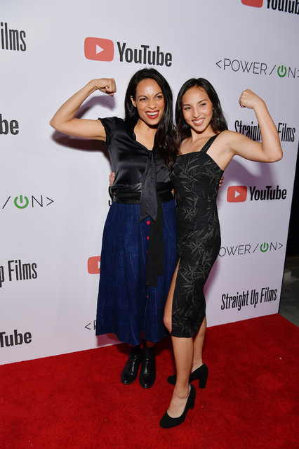 Rosario Dawson (L) and Jordan Delgado attend Power On Premiere By Straight Up Films With Support From YouTube at Google Playa Vista Office on April 24, 2019 in Playa Vista, California. (Photo by Emma McIntyre/Getty Images for YouTube)