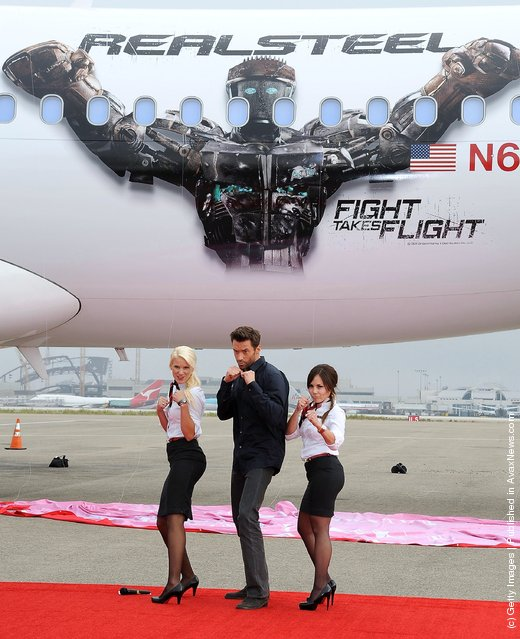 Actor Hugh Jackman attends Virgin America Unveils DreamWorks Pictures' Real Steel Plane With Hugh Jackman