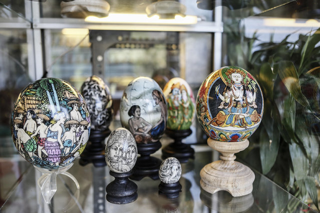 Painted eggshell displayed at Wayan Sadra's workshop on April 14, 2014 in Sukawati, Gianyar, Bali, Indonesia. (Photo by Putu Sayoga/Getty Images)