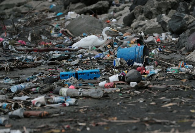 Plastic waste pile and debris are seen up near the beach in Panama City, as Panama becomes the first country in Central America to ban all single-use plastic bags, in Panama on July 19, 2019. (Photo by Erick Marciscano/Reuters)