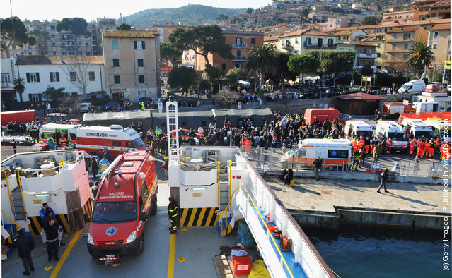 A general view of the scene on the island of Giglio, near to where the cruise ship Costa Concordia ran aground