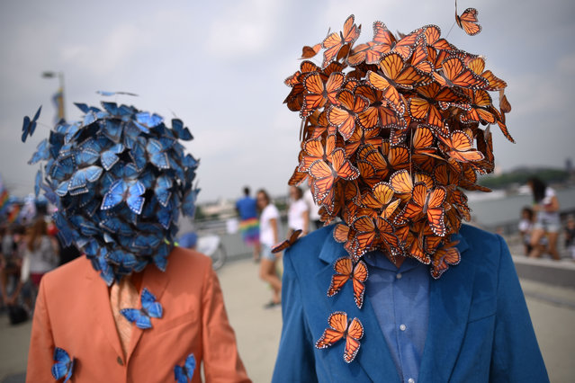 """Participants have their heads covered with mock butterflies during the Christopher Street Day Parade """"Cologne Pride"""" in Cologne, western Germany, on July 9, 2017. (Photo by Henning Kaiser/AFP Photo/DPA)"""