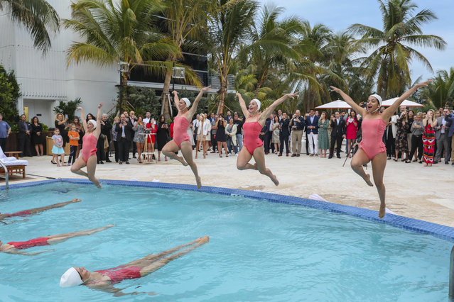 Synchronized swimmers at ribbon cutting celebration at the grand re-opening of The Ritz-Carlton, South Beach on Monday, January 27, 2020 in Miami. (Photo by James McEntee/AP Images for Ritz Carlton)