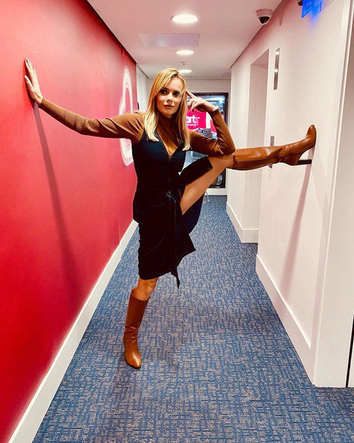 The Britain's Got Talent host Amanda Holden, 48, showed off her flexibility in knee-high boots in the corridors of Heart FM in London, England on February 3, 2020. (Photo by The Sun)