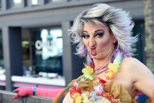 Kruella Lamour attends the Christopher Street Day (CSD) gay pride parade while riding on a truck in Munich, Germany, on July 19, 2014. (Photo by Hannes Magerstaedt/Getty Images)