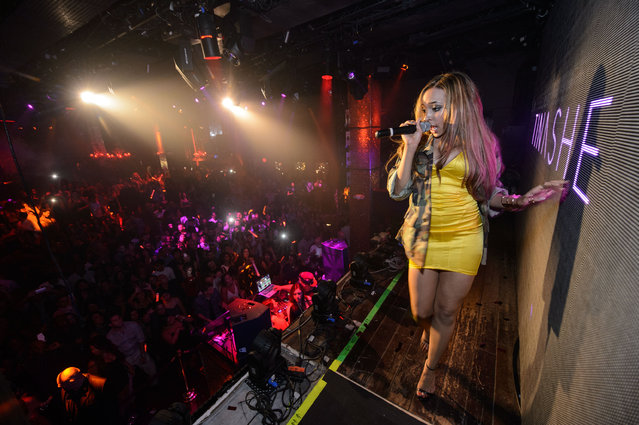 "R&B songstress, Tinashe, hosts the evening at TAO Nightclub Las Vegas, and performs her hit single ""2 On"", August 14, 2014, in the Venetian Resort and Casino in Las Vegas, NV. (Photo by Al Powers/Powers Imagery/Invision/AP Images)"