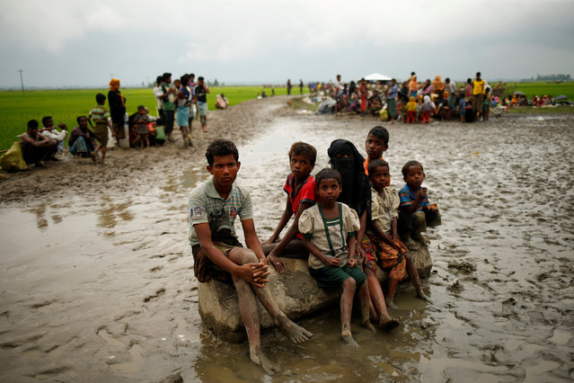 Rohingya refugees sit as they are temporarily held by the Border Guard Bangladesh (BGB) in an open area after crossing the border, in Teknaf, Bangladesh, September 3, 2017. (Photo by Mohammad Ponir Hossain/Reuters)