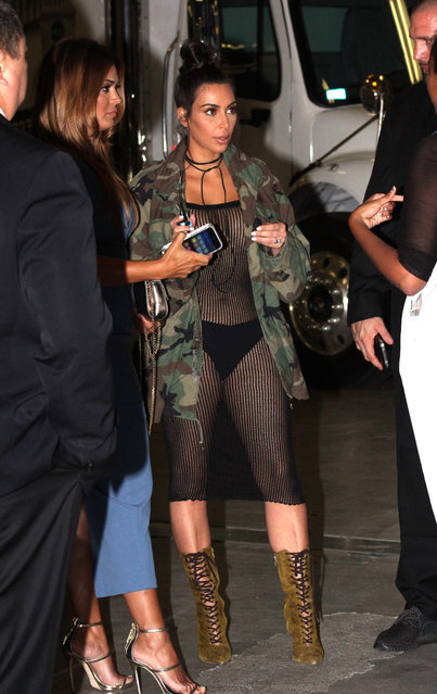 Kim Kardashian arrives at Skyspace in Downtown Los Angeles wearing a fishnet dress and panties on July 14, 2016. (Photo by Khrome/Splash News and Pictures)