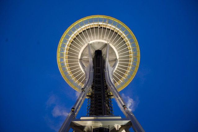 The team cleans the Seattle Space Needle. (Photo by Caters News Agency)