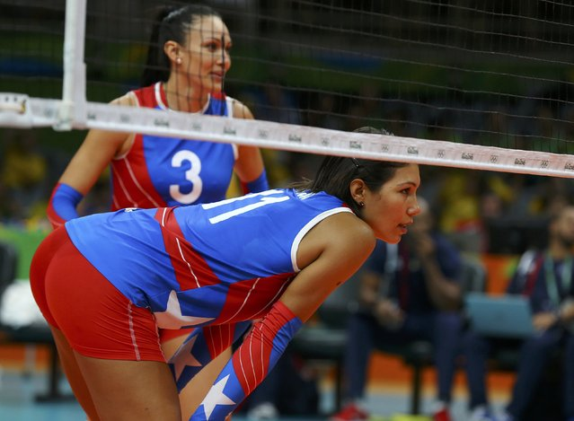 2016 Rio Olympics, Volleyball, Women's Preliminary, Pool B USA vs Puerto Rico, Maracanazinho, Rio de Janeiro, Brazil on August 6, 2016. Karina Ocasio (PUR) of Puerto Rico (R) and Vilmarie Mojica (PUR) of Puerto Rico react during their match. (Photo by Marcelo del Pozo/Reuters)