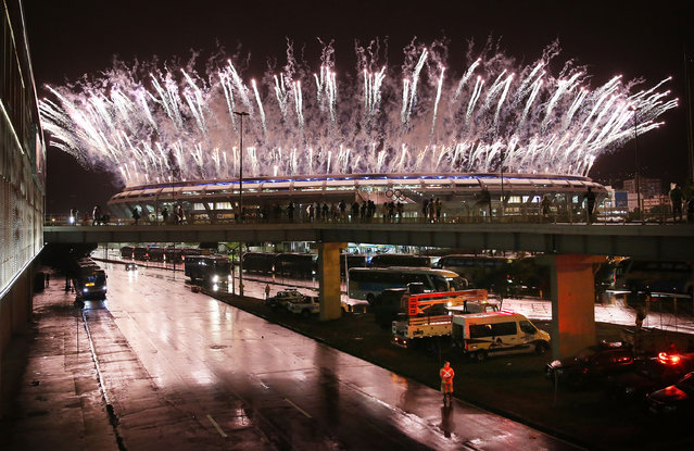 Fireworks explode at Maracana Stadium during closing ceremonies at the Rio 2016 Olympic Games on August 21, 2016 in Rio de Janeiro, Brazil. (Photo by Mario Tama/Getty Images)