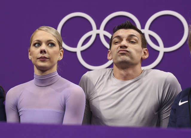 Alexa Scimeca Knierim and Chris Kneirim of the U.S. react to their score during the Free Skating Competition Final February 15, 2018. (Photo by Lucy Nicholson/Reuters)