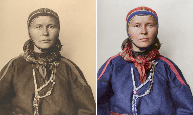 A Laplander circa 1910 wearing the traditional costume of the Sami people inhabiting the arctic regions spanning from northern Norway to the Kola peninsula in Russia. (Photo by Augustus Francis Sherman/New York Public Library/The Guardian)