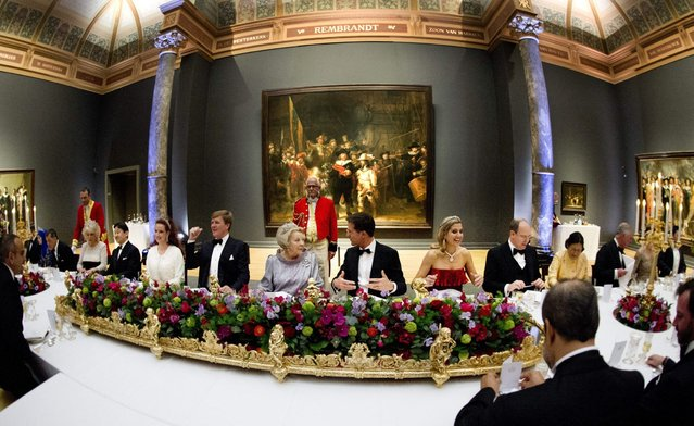 The banquet hosted by the Dutch Royal family at the Rijksmuseum, Amsterdam, The Netherlands, Monday, April 29, 2013. Queen Beatrix has announced she will relinquish the crown on April 30, 2013, after 33 years of reign, leaving the monarchy to her son Crown Prince Willem-Alexander. (Photo by Robin Utrecht/AP Photo)