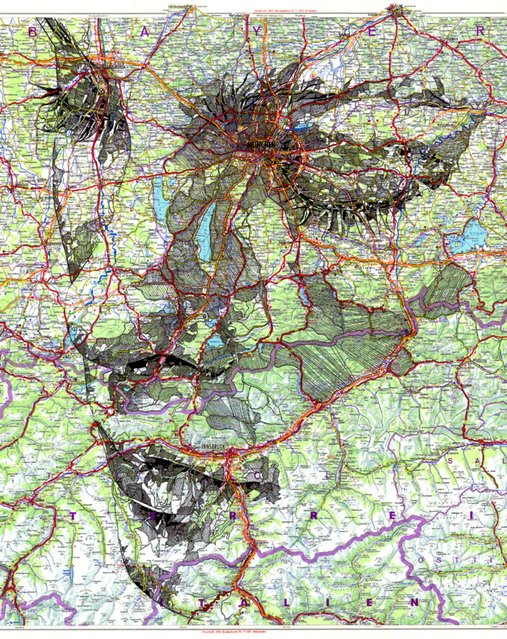 Ink on a 1977 road map of Germany. (Photo by Ed Fairburn/Rex Features)